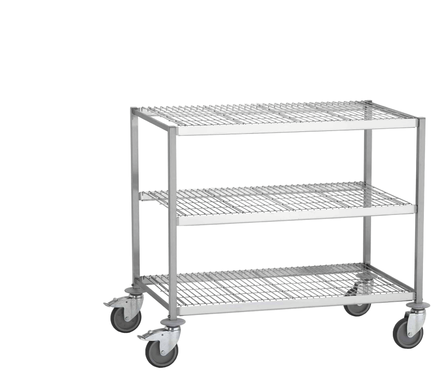 Wire shelved trolleys