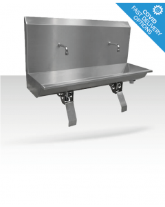 Stainless steel two station knee operated wash trough