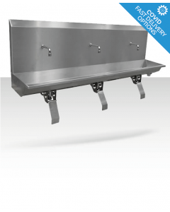 Stainless steel three station knee operated wash trough