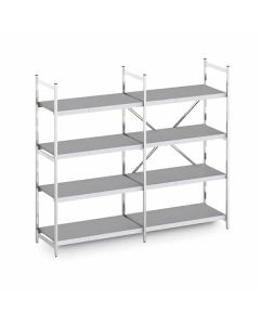 Tall aluminium modular shelving with solid poly shelves