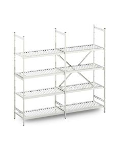 Stainless steel modular shelving with slotted shelves