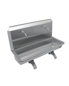 Stainless steel two station scrub sink