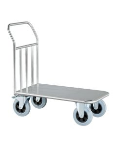 Fully welded 304 grade stainless steel platform truck. They are strong and hygienic as they come with a brushed dull polish finish and they can deal with payloads up to 500kg.