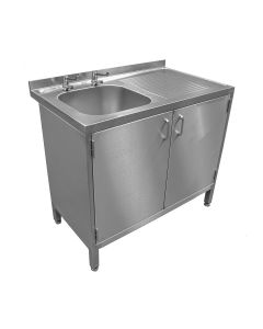 Stainless steel single bowl sink with cupboard