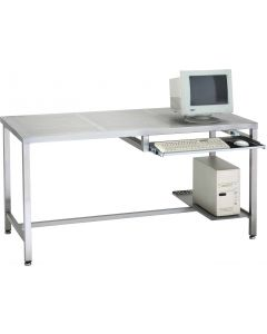 Stainless steel computer desk with perforated top