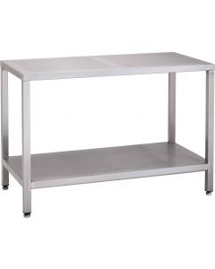 Perforated top workbench with perforated full shelf