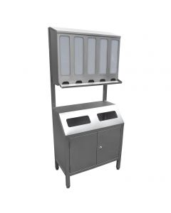 Stainless steel free standing 5 station ppe dispenser