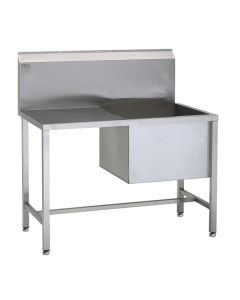 Stainless steel single bowl utility sinks with drainers