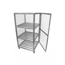 Fully enclosed lockable railed shelf rack trolley with door