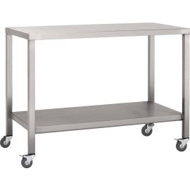 Stainless steel mobile workbench with solid undershelf